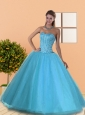 The Most Popular Beading Sweetheart Blue Quinceanera Dresses for 2015