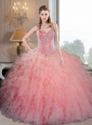 Wonderful Baby Pink Organza Quinceanera Dresses with Beading and Ruffles