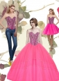 2015 Modest Beading Sweetheart Tulle Hot Pink Quinceanera Dresses