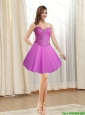 Remarkable 2015 Short Tulle Sweetheart Fuchsia Prom Dress with Beading