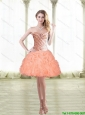 2015 Classical Short Peach Prom Dress with Beading and Pick Ups