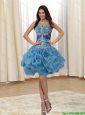 Beautiful Appliques and Rolling Flowers Straps Multi Color 2015 Prom Dress