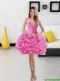 Cute Sweetheart Short Rolling Flowers Rose Pink Prom Dress for 2015