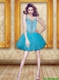 Excellent Beading and Ruffles Prom Dress in Aqua Blue