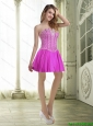 Newest Beading and Ruffles Fuchsia Prom Dresses for 2015