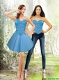 2015 Detachable Sweetheart Tulle Blue Prom Dress with Beading