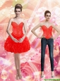2015 Detachable Appliques and Ruffles Red Prom Dress
