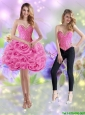 Detachable 2015 Short Sweetheart Rolling Flowers Rose Pink Prom Dress