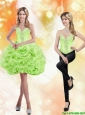 Detachable Sweetheart Short Rolling Flowers 2015 Spring Green Prom Dress