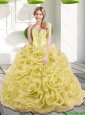 2015 Luxurious Beading and Rolling Flowers Gold 15 Quinceanera Dresses