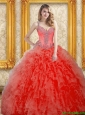 Modern Beading and Ruffles Coral Red 15 Quinceanera Dresses