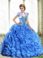 Modest Royal Blue 15 Quinceanera Dresses with Beading and Ruffles