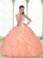 Perfect Sweetheart Beading and Pick Ups Peach 15 Quinceanera Dresses