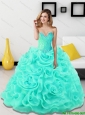 Pretty Beading and Rolling Flowers Sweetheart Light Blue 15 Quinceanera Dresses  for 2015