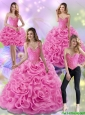 Beautiful Rose Pink 2015 Quinceanera Dresses with Beading and Rolling Flowers