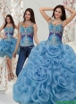 2015 Custom Made Appliques and Rolling Flowers Quinceanera Dresses in Multi Color