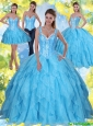 2015 Perfect Beading and Ruffles Baby Blue Sweet Sixteen Dresses with Sweetheart