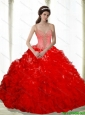 2015 Perfect Beading and Ruffles Sweetheart Red Quinceanera Dresses