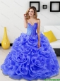 2015 Pretty Beading and Rolling Flowers Quinceanera Dresses in Royal Blue