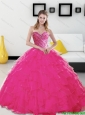 Custom Made Beading and Ruffles Sweetheart Hot Pink 2015 Quinceanera Dresses