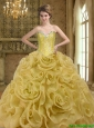 Custom Made Sweetheart Beading and Rolling Flowers Gold 2015 Quinceanera Dresses