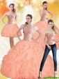 Perfect 2015 Sweetheart Peach Quinceanera Dresses with Beading and Pick Ups