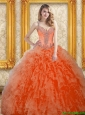 Perfect Orange Red Quinceanera Dresses with Beading