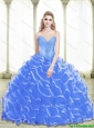 Pretty Beading and Ruffled Layers Sweetheart 2015 Blue Quinceanera Dresses