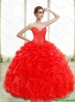 Pretty Beading and Ruffles Red Quinceanera Dresses