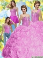 2015 New Style Beading Sweet 16 Dresses in Fuchsia