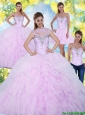 2015 Puffy and Detachable Quinceanera Dresses with Beading and Ruffles