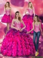 2015 Puffy Multi Color Quinceanera Dresses with Beading and Ruffles