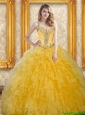 Beautiful Beading and Ruffles Sweet 16 Dresses in Yellow