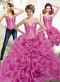 Exclusive Fuchsia 2015 Sweet 16 Dresses with Beading and Rolling Flowers