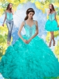 Fashionable 2015 Beading and Ruffles Sweet 16 Dresses in Aqua Blue