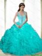 Latest Beading and Ruffles 2015 Sweet 16 Dresses in Aqua Blue