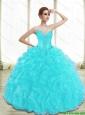 Luxurious Appliques and Ruffles Aqua Blue Sweet 16 Dresses