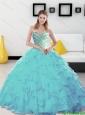Puffy 2015 Beading and Ruffles Sweetheart Aqua Blue Quinceanera Dresses
