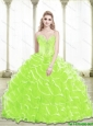 Puffy 2015 Sweetheart Beading and Ruffled Layers Quinceanera Dresses in Lime Green