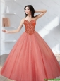 Puffy 2015 Tulle Beading Sweetheart Quinceanera Dresses in Watermelon