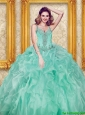 Puffy Beading and Ruffles Apple Green Quinceanera Dresses