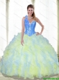 Puffy Beading and Ruffles Sweetheart Multi Color Quinceanera Dresses for 2015