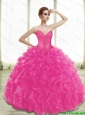 Puffy Fuchsia Quinceanera Dresses with Appliques and Ruffles