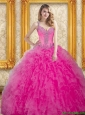 Puffy Hot Pink Dress for Quinceanera with Beading and Ruffles