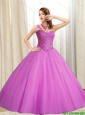 Puffy Sweetheart Beading Tulle Fuchsia 2015 Quinceanera Dresses