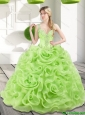 Remarkable Beading and Rolling Flowers Spring Green 2015 Sweet 16 Dresses