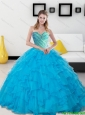 Unique 2015 Baby Blue Beading and Ruffles Sweetheart Quinceanera Dresses