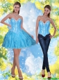 2015 Detachable Short Beading and Ruffles Baby Blue Prom Dress