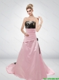 Pink A Line Strapless Fashionable 2015 New Wedding Dresses with Hand Made Flower