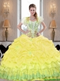 Pretty Yellow 2015 Summer Quinceanera Dresses with Beading and Pick Ups